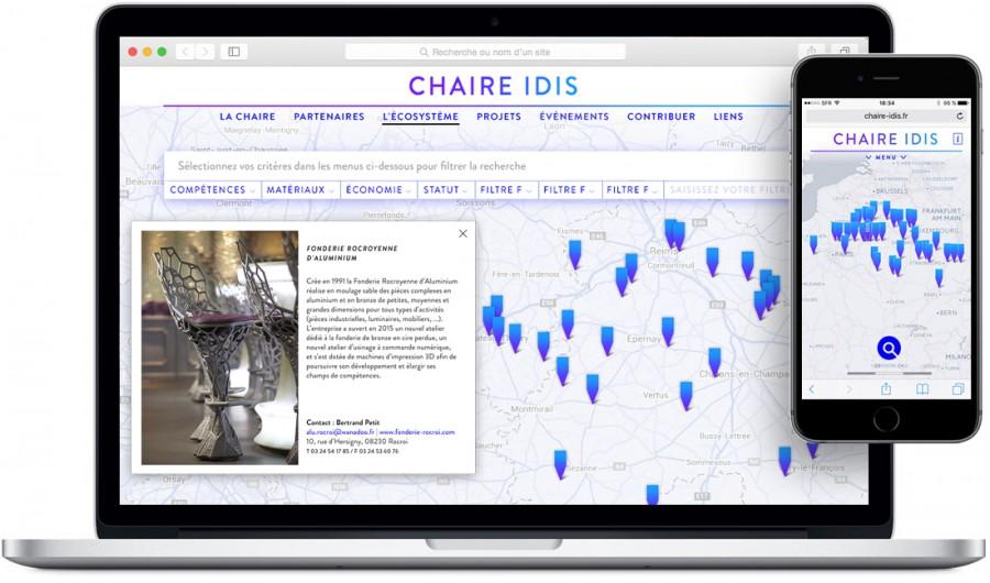 Chaire IDIS - cartographie - écosystème idis -  vue du projet - Esad de Reims -  Olaf Avenati